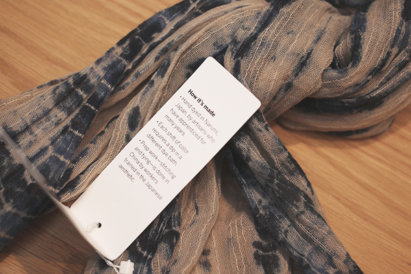 Eileen Fisher Soho store Hand dyed scarf photo by EFA