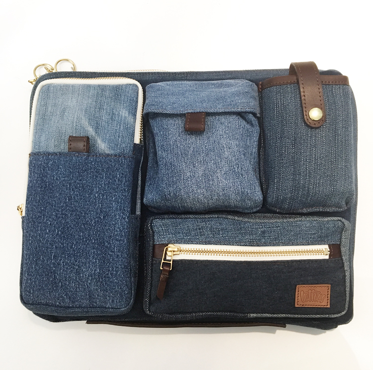 letters Upcycled Denim laptop case